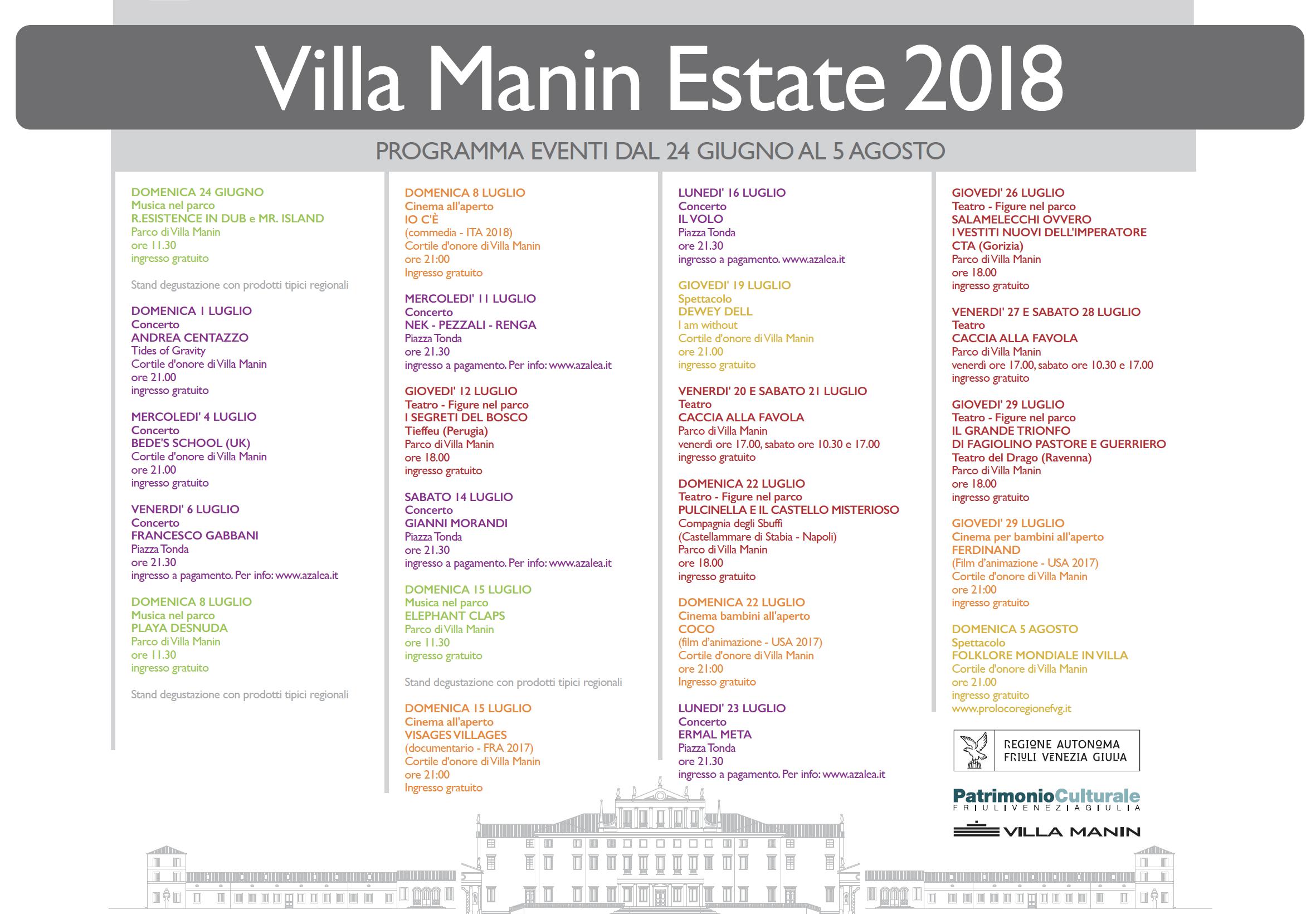 Villa Manin Estate 2018 | Programma completo